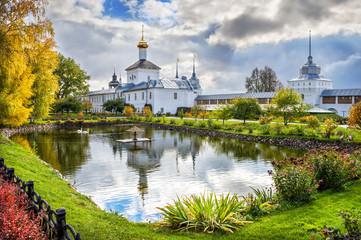 Лебеди в пруду Толгского монастыря Swans in the pond of Tolga Monastery Wall mural
