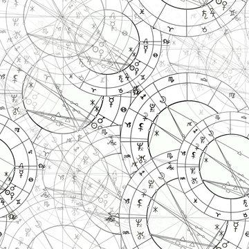 seamless pattern natal astrological chart, zodiac signs. illustration