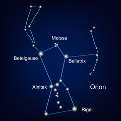 constellation orion hunter against the sky.  illustration