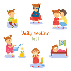 vector flat girl kid doing routine activity set. Child crying, reading watering plant in pot, having fun in hero costume, sleeping, hugging with mother. Isolated illustration on a white background.