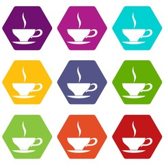 Cup of tea icon set color hexahedron