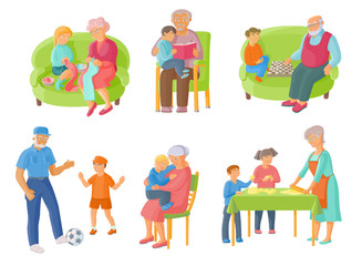 Grandparents spending time with grandchildren - cooking, reading, playing chess and football, cartoon vector illustration on white background. Grandparents and grandchildren spending time together