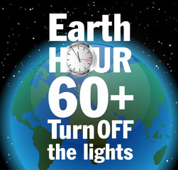 Vector illustration poster to Earth hour day with globe and text.