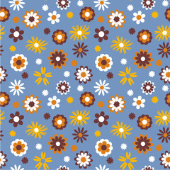 Endless pattern with cute flowers. Seamless pattern can be used for wallpaper, pattern fills, web page background, surface textures, print on fabric, goods for children, packaging design, gadgets