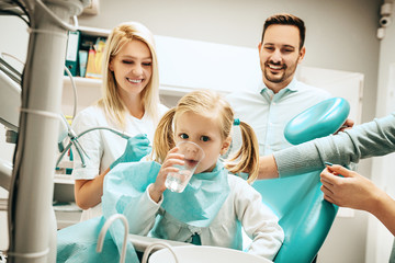 Family in dental office