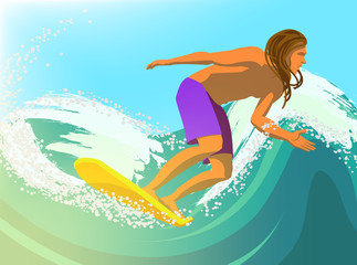 Cartoon character with surfboard. Vector illustration.