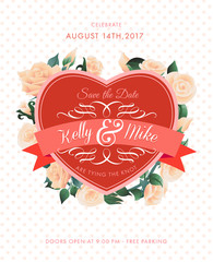 Wedding holiday poster. Vector illustration.