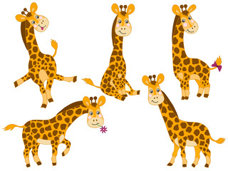 Vector Set of Cute Cartoon Giraffes