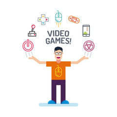 a geek man character in orange tees and glass with his hands up. video game Icons are arranged in a semicircle above the head