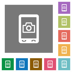 Mobile photography square flat icons