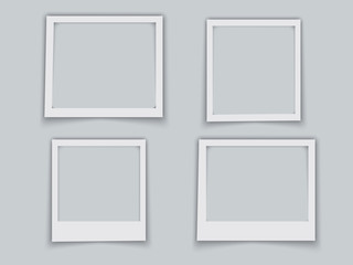 Photo frames with realistic drop shadow vector effect isolated. Empty photo frame template gallery illustration. EPS10