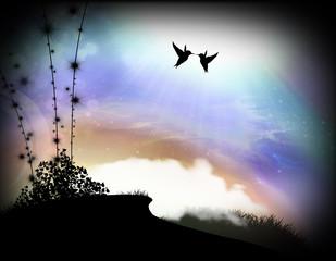 Birds in love silhouette art