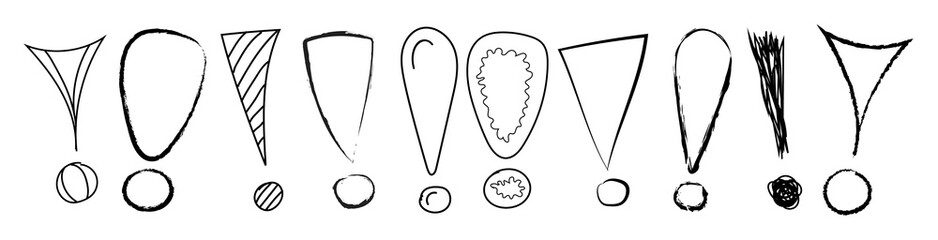 Hand drawn exclamation marks - banner. Vector.
