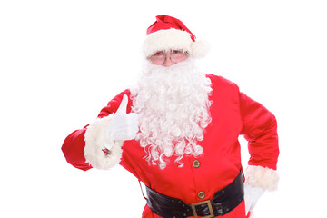 Kind Santa Claus thumb up, isolated on white background