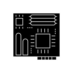 motherboard icon, illustration, vector sign on isolated background