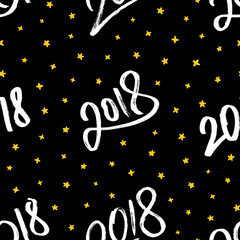 Happy New Year 2018. Seamless pattern with white hand drawn calligraphic numbers 2018 and yellow stars on black background. Decoration element for chinese Year of the Dog. Vector illustration