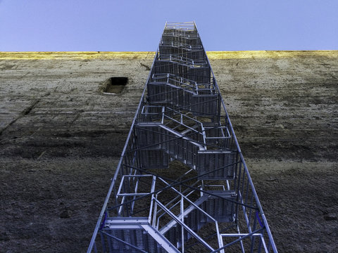Critical Infrastructure for Global Economic Growth Shipping Canal Wall Temporary Access Stairs