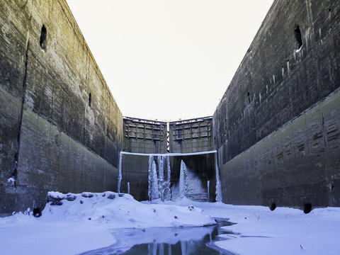 Critical Infrastructure for Global Economic Growth Shipping Canal Closed Gates In Winter