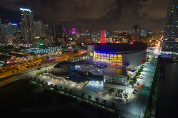 Aerial night photo American Airlines Arena
