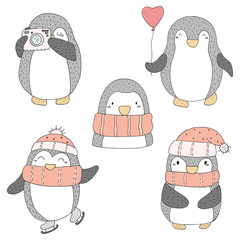 Cute hand drawn penguins set . Printable templates