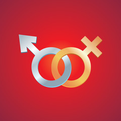 Symbol of gender identity. Male and female symbol.