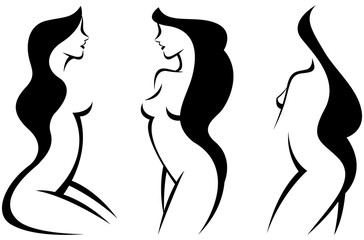 Vector set stylized beautiful women silhouettes