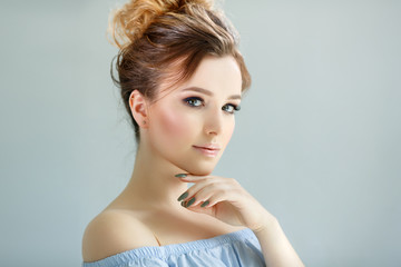 Portrait of a young beautiful woman. Beauty girl model.
