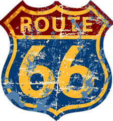 grungy route 66 road sign,fictonal artwork: different font and color than official road sign
