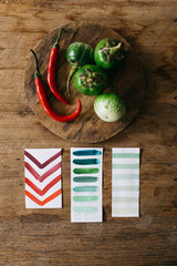 Green Eggplant and Hot Pepper Colour Palette