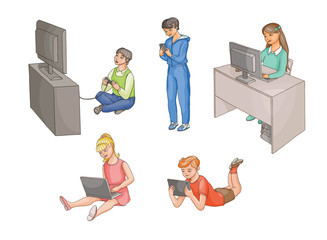 Kids, children using gadgets - computer, laptop, tablet, smartphone, game console, front view, flat cartoon vector illustration isolated on white background. Kids and technologies