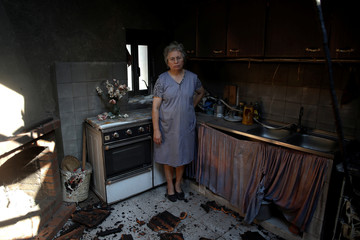 Albertina Miranda poses for a photo inside her burnt kitchen after a forest fire in Lagares, near Santa Comba Dao