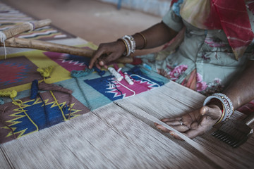 Indian Woman Weaving Textiles (durry)