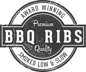 Vintage BBQ Ribs Restaurant Sign
