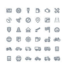 Vector thin line icons set and graphic design elements. Illustration with transport, navigation outline symbols. Driver license, wheel, gas station, road service, GPS, traffic light linear pictogram