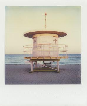 Lifeguard hut on beach ( SX-70 print)