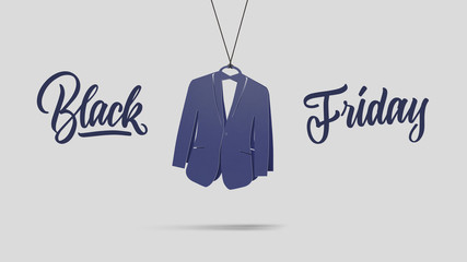 men's tuxedo made of cardboard. black friday and sales concept