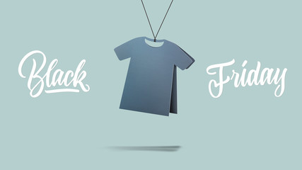 t-shirt made of cardboard. black friday and sales concept