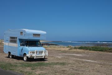 Retro Campervan parked at Beach