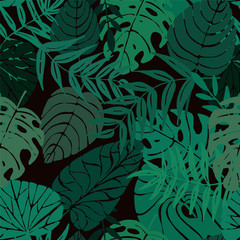 Seamless pattern with tropical leaves, vector illustration