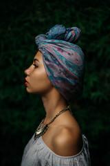 Portrait of a Beautiful Stylish Woman Wearing a Turban