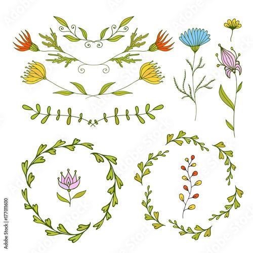 Floral Design Elements Set Spring Frames And Borders Vector