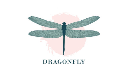 Dragonfly Logo Design Template. A colorful dragonfly on a background of pastel splashes, watercolor stains. Fashionable illustration isolated on white. For label, badge, emblem, sign, identity.