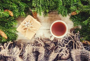 Tea on a Christmas background. Selective focus.
