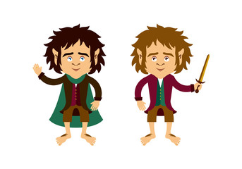 Hobbit vector. Hobbit cartoon character. Hobbit isolated on a white background