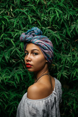 Portrait of a Beautiful Young Woman with Turban