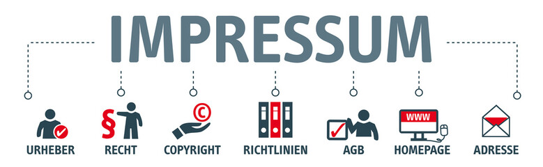 Banner Impressum vektor illustration mit icons