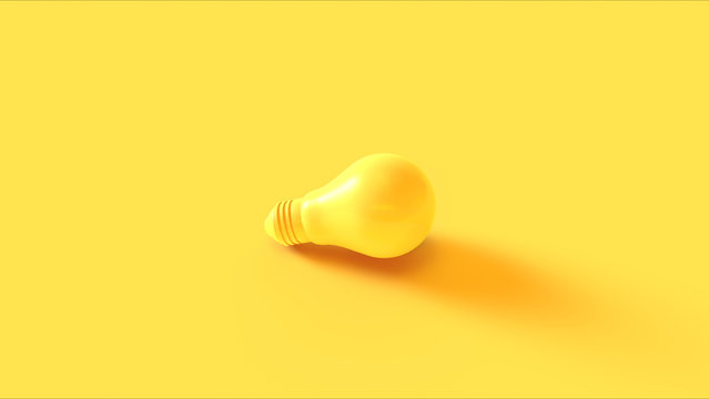 Yellow light bulb on a yellow background