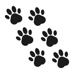 Paw prints. Animal paw print flat icon. Vector illustration