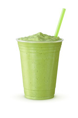 Cold Green Tea Frappe or Milkshake in Generic Plastic Cup with a Straw on White Background