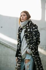 Outfit inspiration - camo fur coat